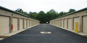 Slanted driveways at storage center in Locust, NC